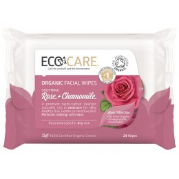 Ecocare Cleansing Face Wipes - Organic Rose & Chamomile - Pack Of 24