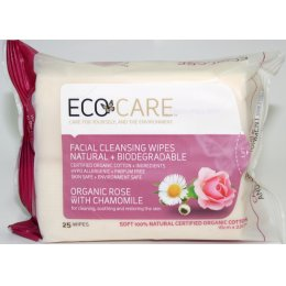 Ecocare Cleansing Face Wipes - Organic Rose & Chamomile - Pack Of 25