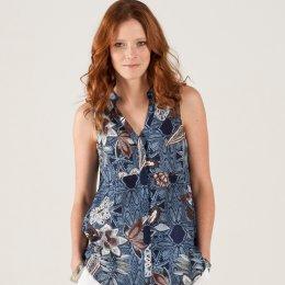 Nomads Floral Textured Cotton Sleeveless Shirt