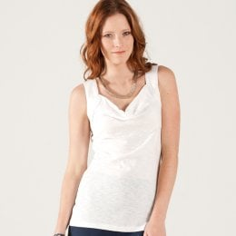 Nomads White Cowl Neck Cami Top