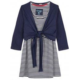 Frugi Top and Tie Nursing Cardigan - Navy/Sea Stripe