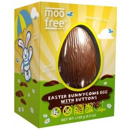 Moo Free Organic & Dairy Free Bunnycomb Chocolate Easter Egg with Buttons - 110g