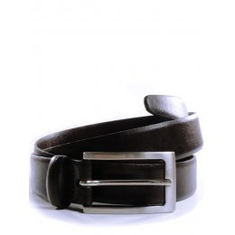 Wills London Vegan 3cm Belt - Brown & Silver