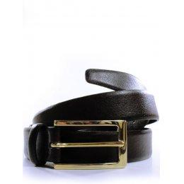 Wills London Vegan 3cm Belt - Brown & Gold