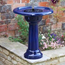 Smart Solar Florence Birdbath - Blue