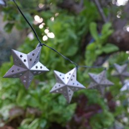 Solar Powered Metal Star String Lights - 10