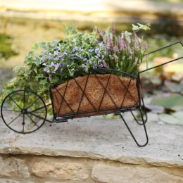 Smart Solar Traditional Metal Wheelbarrow Planter