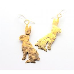 La Jewellery Brass Lobee Hare Earrings