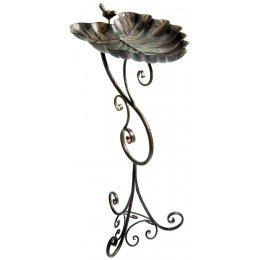 Ornate Leaf Pedestal Bird Bath