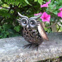 Smart Solar Metal Scroll Owl Light