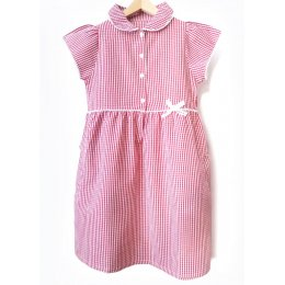 Girls Gingham Checked Summer School Dress - Red - 5yrs
