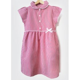 Girls Gingham Checked Summer School Dress - Red - 3yrs