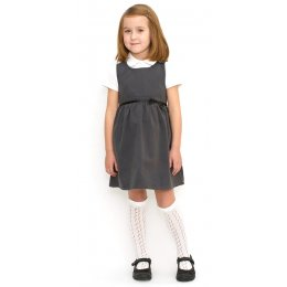 Girls School Pinafore With Bow - Grey - 5yrs