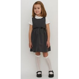 Girls School Pinafore With Bow - Grey - Infant