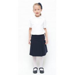 Girls Drop Waist Pleated School Skirt With Adjustable Waist - Navy - 7yrs