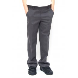Boys Classic Fit School Trousers With Adjustable Waist - Grey - 3yrs