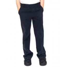 Boys Classic Fit School Trousers With Adjustable Waist - Navy - 3yrs