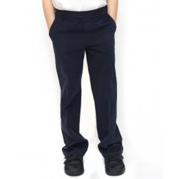 Boys Classic Fit School Trousers With Adjustable Waist - Navy - 5yrs