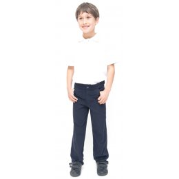 Boys Slim Fit School Trousers With Adjustable Waist - Navy