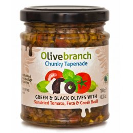 Olive Branch Chunky Tapenade - Green & Black Olives With Sundried Tomato, Feta & Basil - 180g