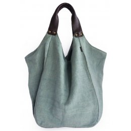Hava Bag with Leather Handles - Mint Blue