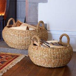 Round Jute Works Baskets - Set of 2