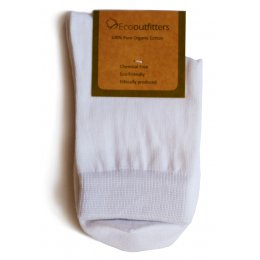 100 percent  Organic Cotton Ankle School Socks - White