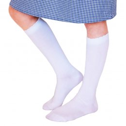 Organic Cotton Knee High School Socks - White