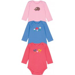 Frugi Hedgehog & Friends Baby Body - Pack of 3