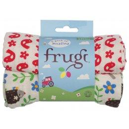 Frugi Lovely 2 Pack Muslin Cloths - Hedgehog