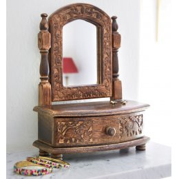 Wooden Jewellery Box & Mirror