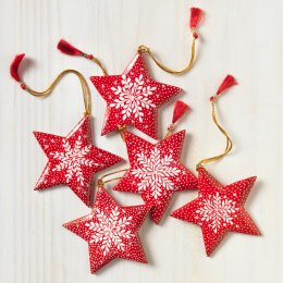 Dalit Red Star Hanging Decorations - Set of 5
