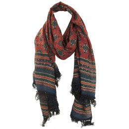 Printed Viscose Scarf - Red & Navy