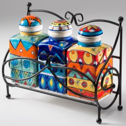 Handpainted Spice Jars - Set of 3