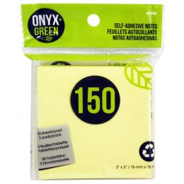 Recycled Paper Self-Adhesive Notes - 3 x 50 Sheets - Yellow