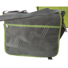 Jute & Cotton Blend Messenger Bag - Grey