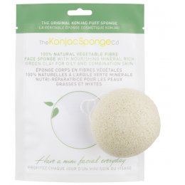Natural Konjac Sponge with Green Clay - Facial Puff Sponge