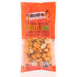Liberation Fairtrade Chilli & Lime Cashew Nuts with Peanuts and Roasted Corn - 40g