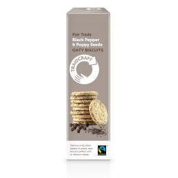 Traidcraft Fairtrade Black Pepper & Poppy Seeds Oaty Biscuits -130g