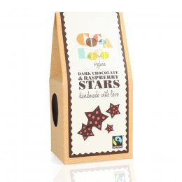 Cocoa Loco Dark Chocolate And Raspberry Stars - 100g