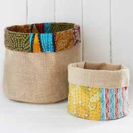 Reversible Recycled Sari Baskets - Set of 2