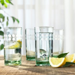 Tall Etched Recycled Glasses - Set of 4