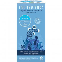 Natracare Organic Cotton Tampons with Applicator - Super - Pack of 16