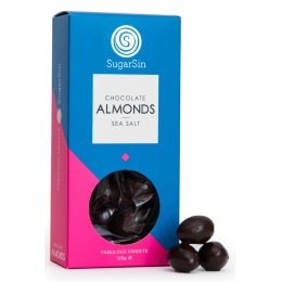 Sugar Sin 100 percent  Natural Dark Chocolate with Sea Salt Coated Almonds - 125g