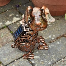 Solar Powered Metal Silhouette Scroll Dog Light