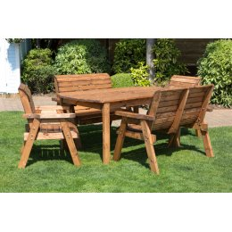Six Seater Outdoor Table Set - With Benches