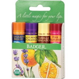 Badger Balm Lip Balm Sticks - Green Pack of 4