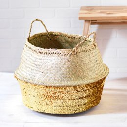 Toulouse Large Sequin Basket - Gold