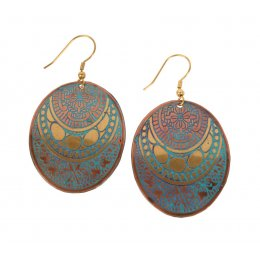 Fair Trade Oval Metal Earrings - Turquoise & Gold