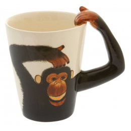 Hand Painted Monkey Handle Mug
